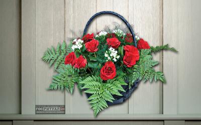 Корзина «Роза» с живыми цветами (1,1м)