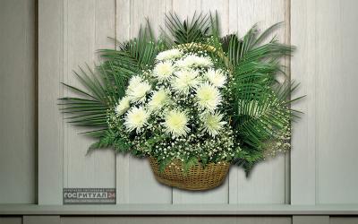 Корзина «Хризантема» с живыми цветами (1,1м)