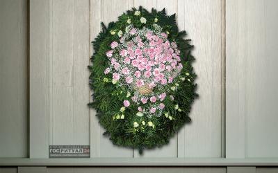 Венок «Гвоздика» с живыми цветами (1,6м)